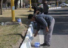 اجرای پروژه رنگ آمیزی جداول سطح شهرسیرجان