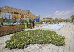 چهره متفاوت میدان امام حسین(ع) پس از سال ها /بخش میانی دروازه دولت، سنگفرش شد