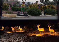 نصب اِلمان مرد کشاورز در پارکِ نخل شهر لار